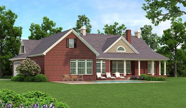 Colonial, Country, Ranch, Traditional House Plan 40037 with 3 Beds, 3 Baths, 2 Car Garage Rear Elevation