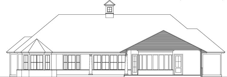 Cottage Craftsman Florida Southern House Plan 40038 Rear Elevation