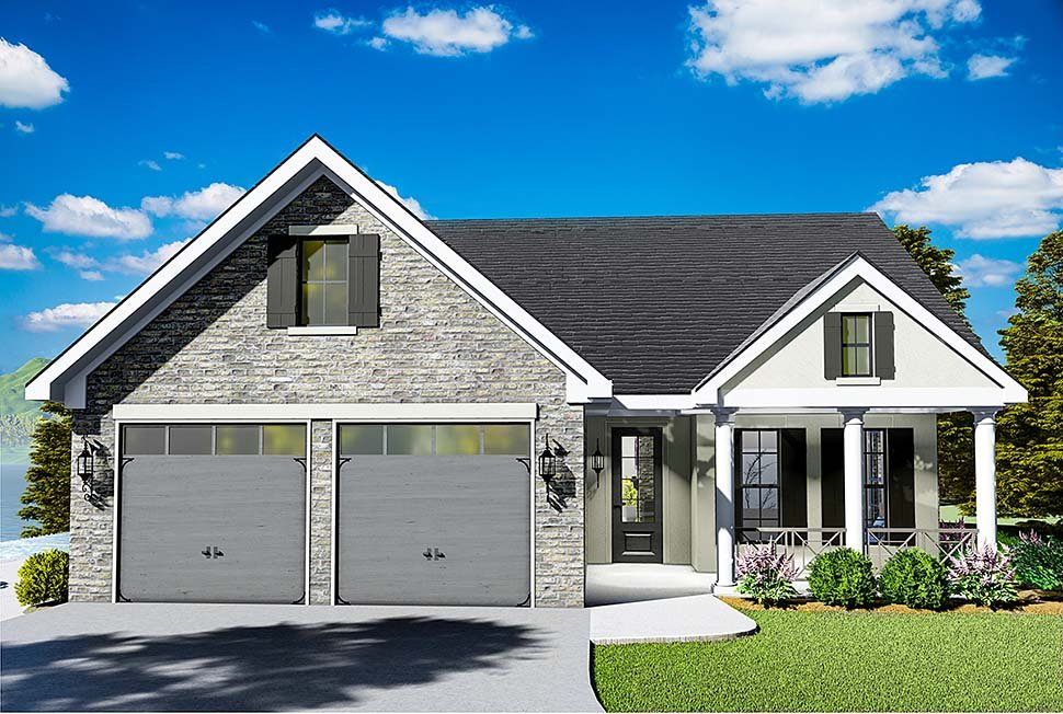 House Plan 40040 | Cape Cod Coastal Cottage Country Southern Traditional Style Plan with 1725 Sq Ft, 3 Bedrooms, 2 Bathrooms, 2 Car Garage Elevation