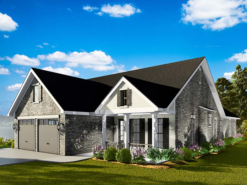 Cape Cod, Coastal, Cottage, Country, Southern, Traditional House Plan 40040 with 3 Beds, 2 Baths, 2 Car Garage Picture 3