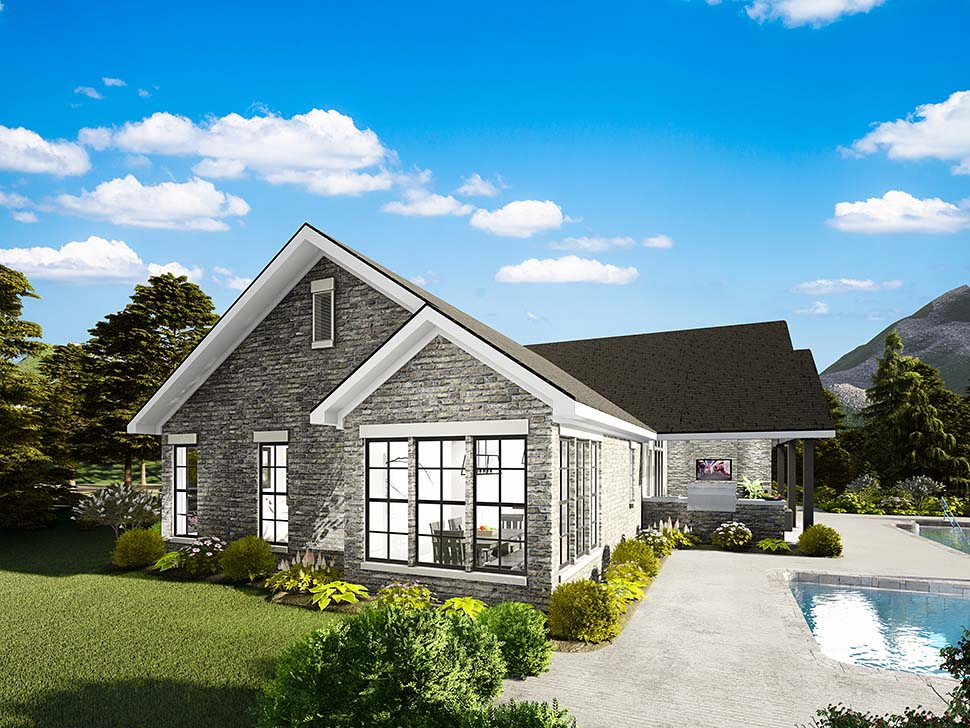 House Plan 40040 | Cape Cod Coastal Cottage Country Southern Traditional Style Plan with 1725 Sq Ft, 3 Bedrooms, 2 Bathrooms, 2 Car Garage Rear Elevation