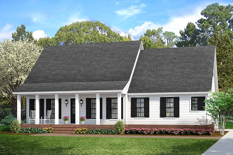 Cabin, Cottage, Country, Farmhouse, Southern, Traditional House Plan 40041 with 3 Beds, 2 Baths, 2 Car Garage Front Elevation