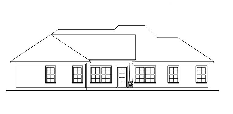 Cape Cod Cottage Country Craftsman Farmhouse Southern Traditional Rear Elevation of Plan 40042