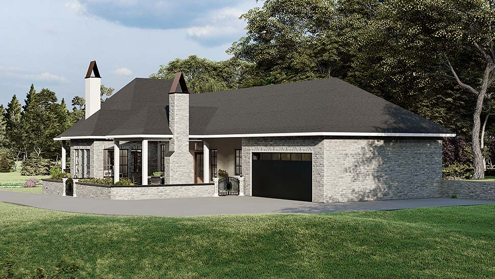 Cottage , Country , Southern , Traditional House Plan 40044 with 3 Beds, 2 Baths, 2 Car Garage Rear Elevation