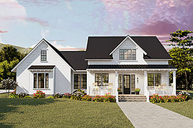 Cottage , Country , Craftsman , Farmhouse , Ranch , Southern , Traditional House Plan 40046 with 4 Beds, 2 Baths, 2 Car Garage Elevation