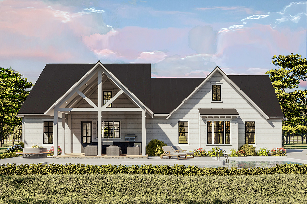 Cottage , Country , Craftsman , Farmhouse , Ranch , Southern , Traditional House Plan 40046 with 4 Beds, 2 Baths, 2 Car Garage Rear Elevation