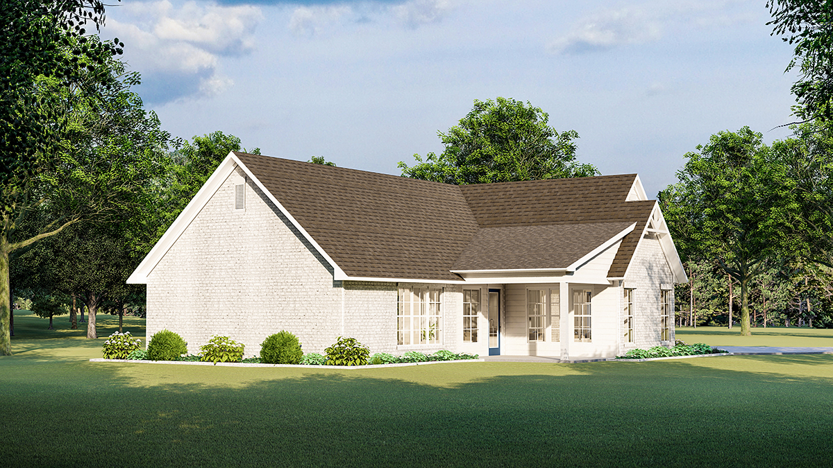 Cottage Country Farmhouse French Country Southern Traditional Rear Elevation of Plan 40047