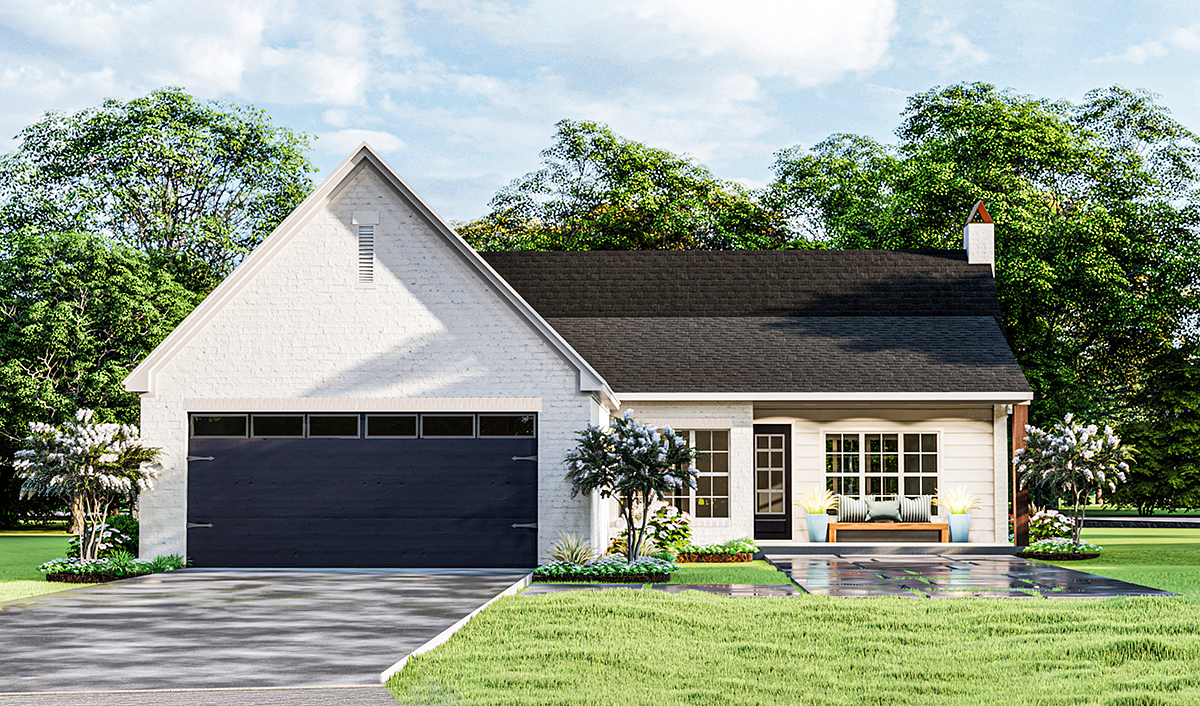 Cottage, Traditional House Plan 40050 with 3 Beds, 2 Baths, 2 Car Garage Rear Elevation