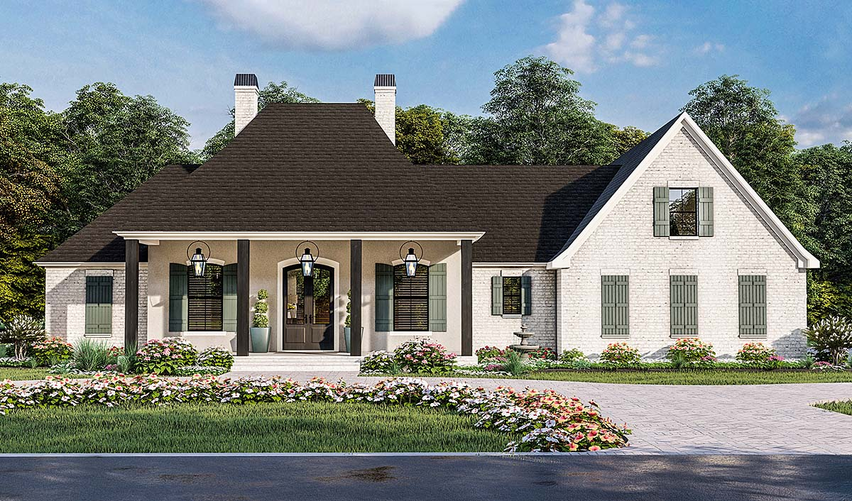 Country, Farmhouse, French Country, Southern, Traditional House Plan 40051 with 4 Beds, 3 Baths, 2 Car Garage Elevation