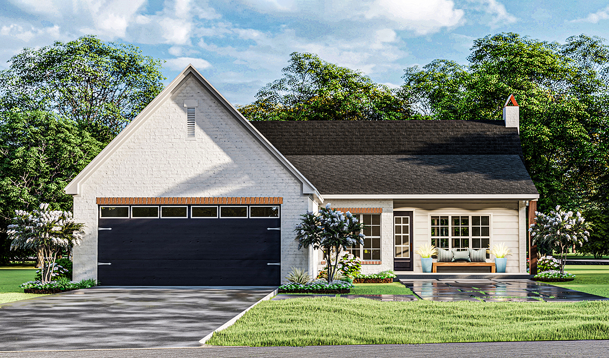 Cottage, French Country, Ranch House Plan 40052 with 3 Beds, 2 Baths, 2 Car Garage Rear Elevation