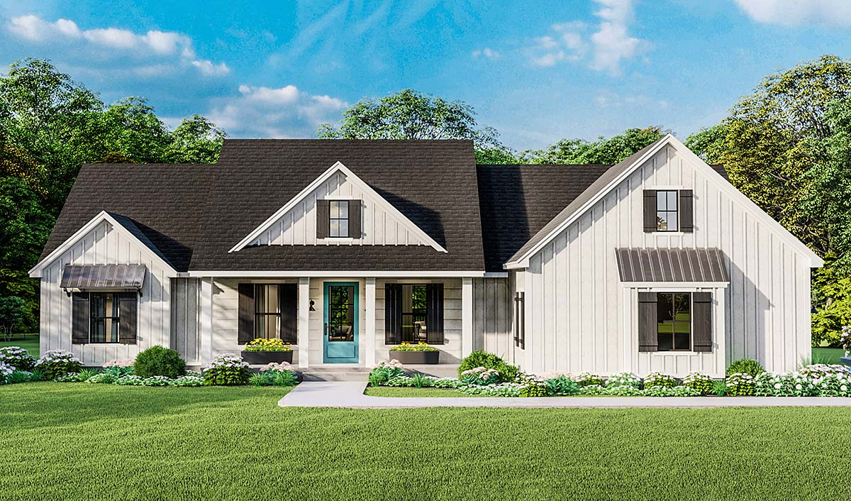 Country, Farmhouse, Ranch, Southern House Plan 40053 with 4 Beds, 2 Baths, 2 Car Garage Elevation