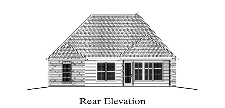 Country European French Country Rear Elevation of Plan 40300