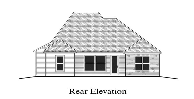Country European French Country Rear Elevation of Plan 40301