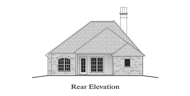 European House Plan 40302 Rear Elevation