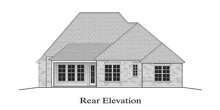 European French Country Rear Elevation of Plan 40303