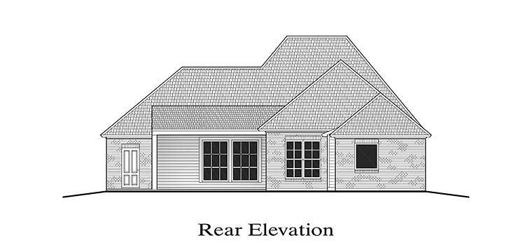 European French Country Rear Elevation of Plan 40304