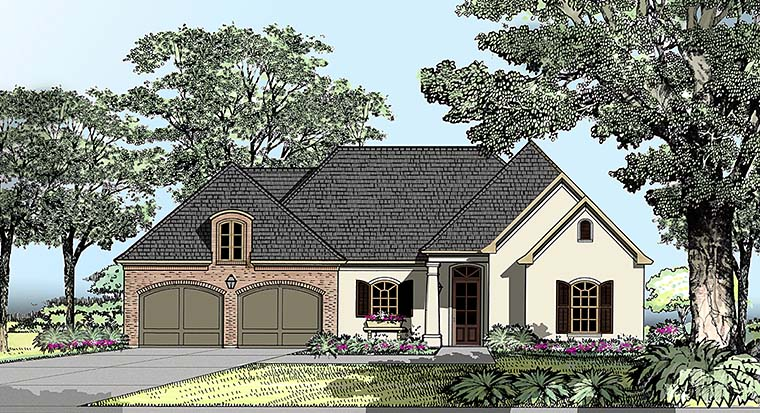 European, Southern, Traditional House Plan 40305 with 3 Beds, 2 Baths, 2 Car Garage Elevation