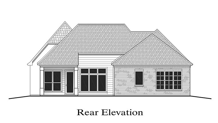 European Southern Traditional Rear Elevation of Plan 40305