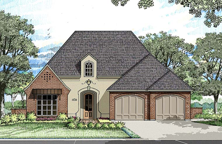 French Country, Southern House Plan 40306 with 3 Beds, 2 Baths, 2 Car Garage Front Elevation