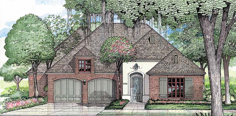 European, French Country House Plan 40307 with 3 Beds, 2 Baths, 2 Car Garage Picture 3