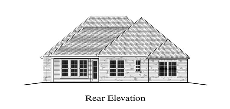 European French Country Rear Elevation of Plan 40307
