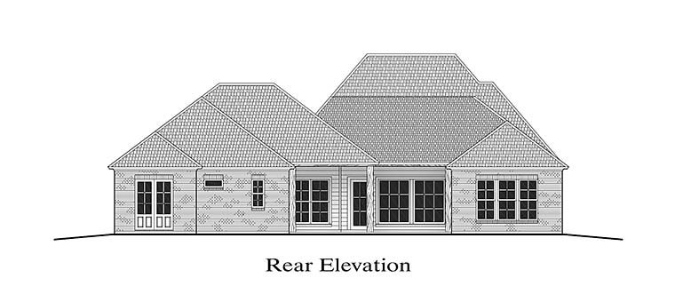 Colonial French Country Southern House Plan 40310 Rear Elevation