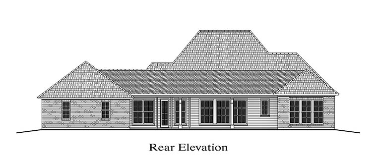 Colonial , French Country , Southern House Plan 40311 with 4 Beds, 3 Baths, 3 Car Garage Rear Elevation