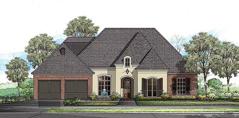 European, French Country, Southern House Plan 40312 with 4 Beds, 3 Baths, 2 Car Garage Front Elevation