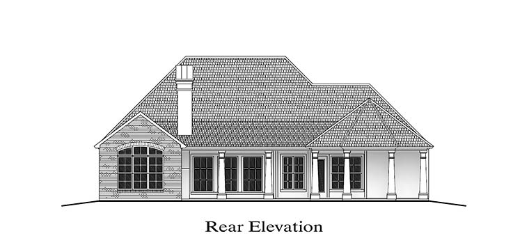 European, French Country, Southern House Plan 40312 with 4 Beds, 3 Baths, 2 Car Garage Rear Elevation