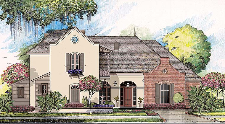 European, French Country, Southern, Southwest House Plan 40313 with 4 Beds, 4 Baths, 2 Car Garage Elevation