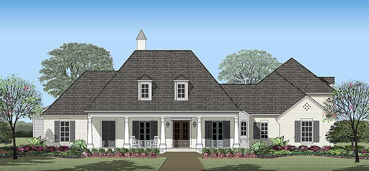 House Plan 40316 | Colonial French Country Southern Style Plan with 3998 Sq Ft, 4 Bedrooms, 4 Bathrooms, 2 Car Garage Elevation