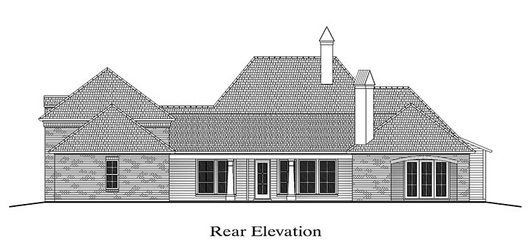 Colonial , French Country , Southern House Plan 40316 with 4 Beds, 4 Baths, 2 Car Garage Rear Elevation