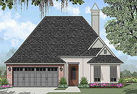 House Plan 40317 | European French Country Style Plan with 1513 Sq Ft, 3 Bedrooms, 2 Bathrooms, 2 Car Garage Elevation