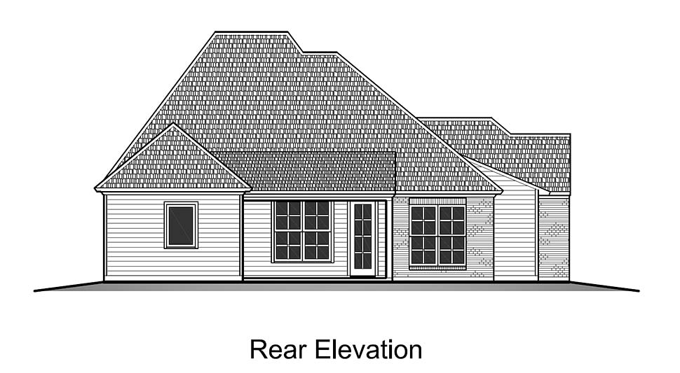 European , French Country , Rear Elevation of Plan 40318