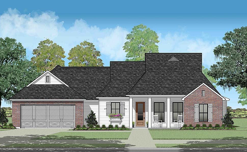 House Plan 40319 | Colonial French Country Southern Style Plan with 1659 Sq Ft, 3 Bedrooms, 2 Bathrooms, 2 Car Garage Elevation