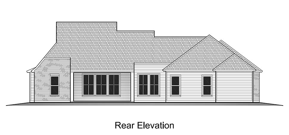 Colonial , French Country , Southern , Rear Elevation of Plan 40319