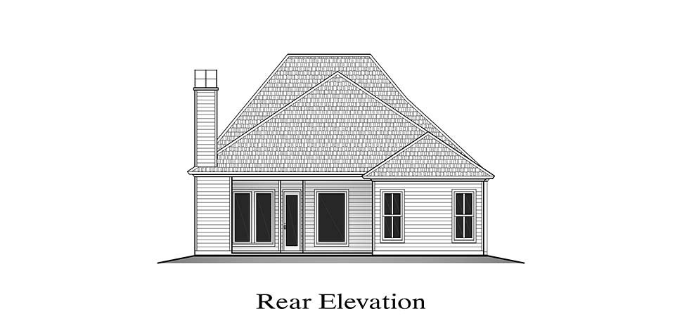 European , French Country , Rear Elevation of Plan 40321