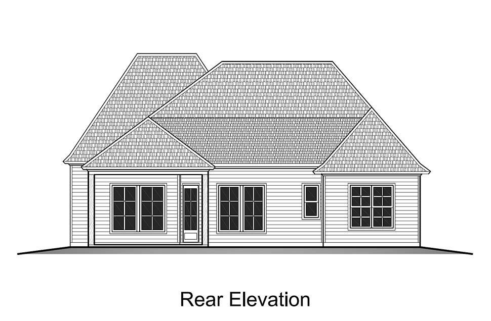 House Plan 40323 | European French Country Style Plan with 1793 Sq Ft, 4 Bedrooms, 2 Bathrooms, 2 Car Garage Rear Elevation