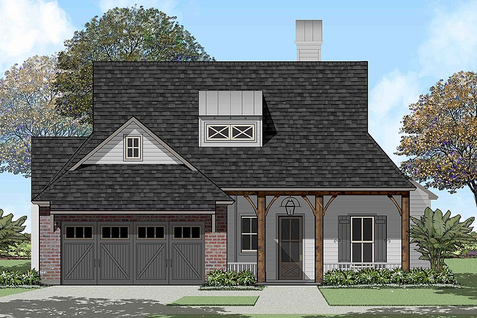 Country , French Country , Southern House Plan 40324 with 4 Beds, 2 Baths, 2 Car Garage Elevation