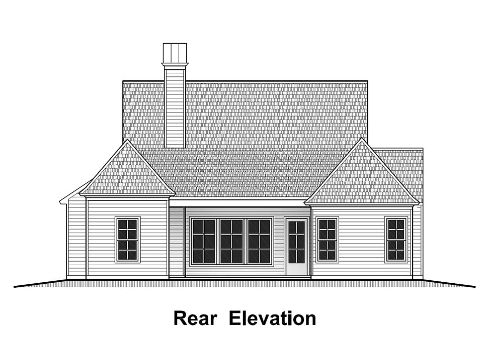 Country , French Country , Southern House Plan 40324 with 4 Beds, 2 Baths, 2 Car Garage Rear Elevation