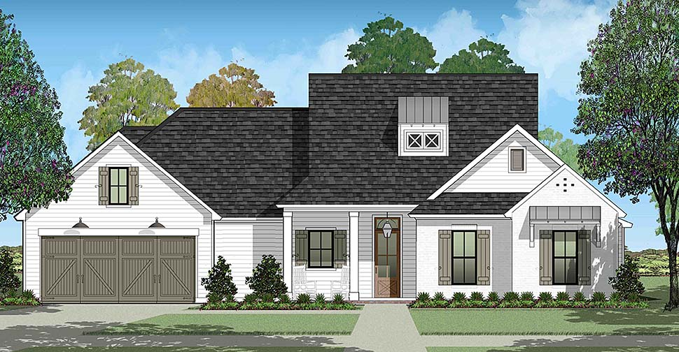 House Plan 40325 | Colonial French Country Southern Style Plan with 1931 Sq Ft, 4 Bedrooms, 2 Bathrooms, 2 Car Garage Elevation