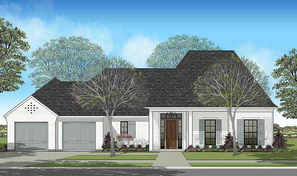 European , Southern , Traditional House Plan 40327 with 4 Beds, 2 Baths, 2 Car Garage Elevation