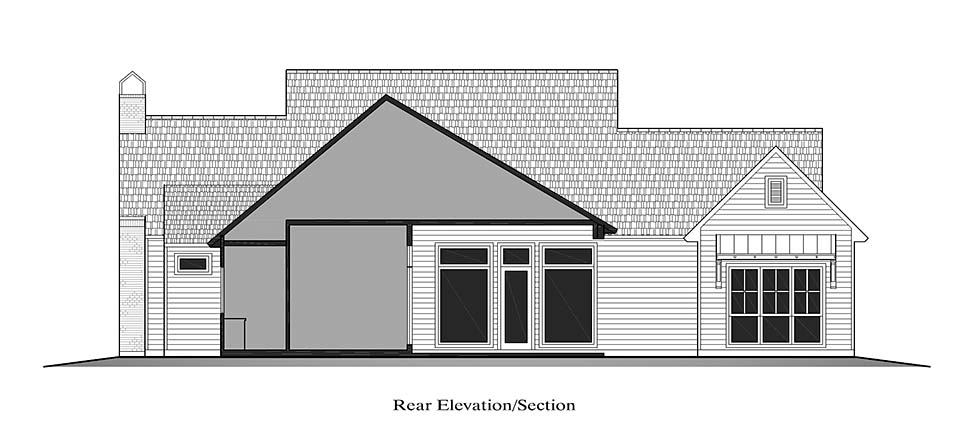 Country , French Country , Southern , Rear Elevation of Plan 40328
