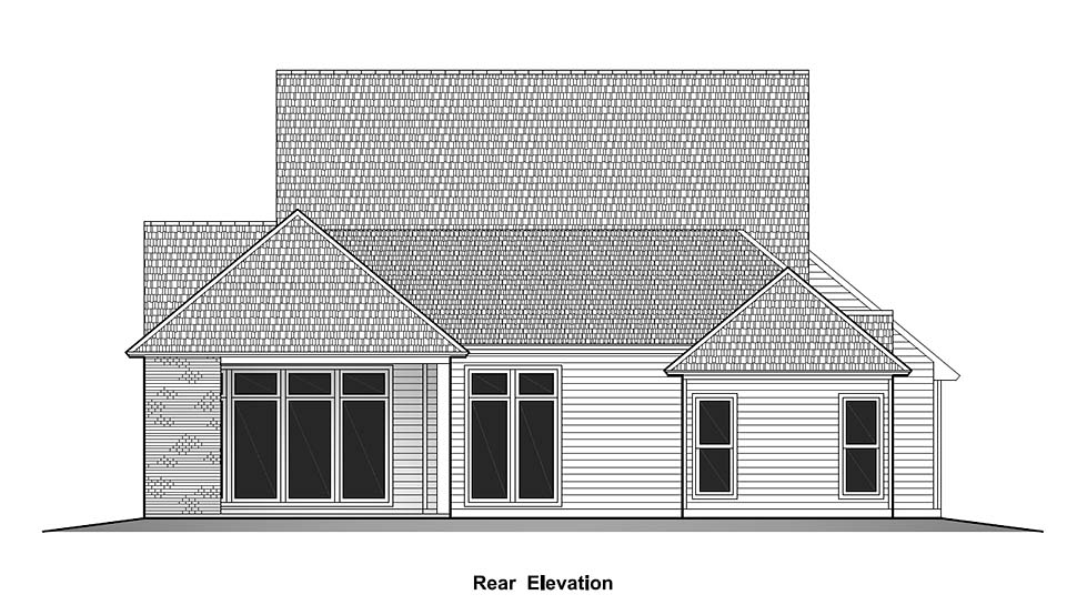House Plan 40329 | Country French Country Southern Style Plan with 2434 Sq Ft, 4 Bedrooms, 3 Bathrooms, 2 Car Garage Rear Elevation