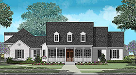 House Plan 40330 | Colonial Country French Country Southern Traditional Style Plan with 3081 Sq Ft, 4 Bedrooms, 3 Bathrooms, 3 Car Garage Elevation