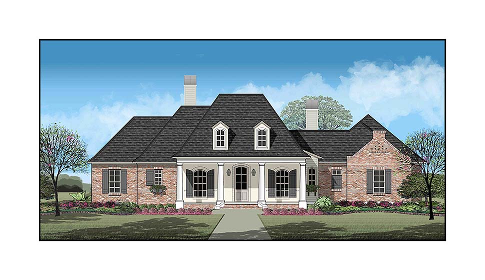 Country French Country Southern Elevation of Plan 40331