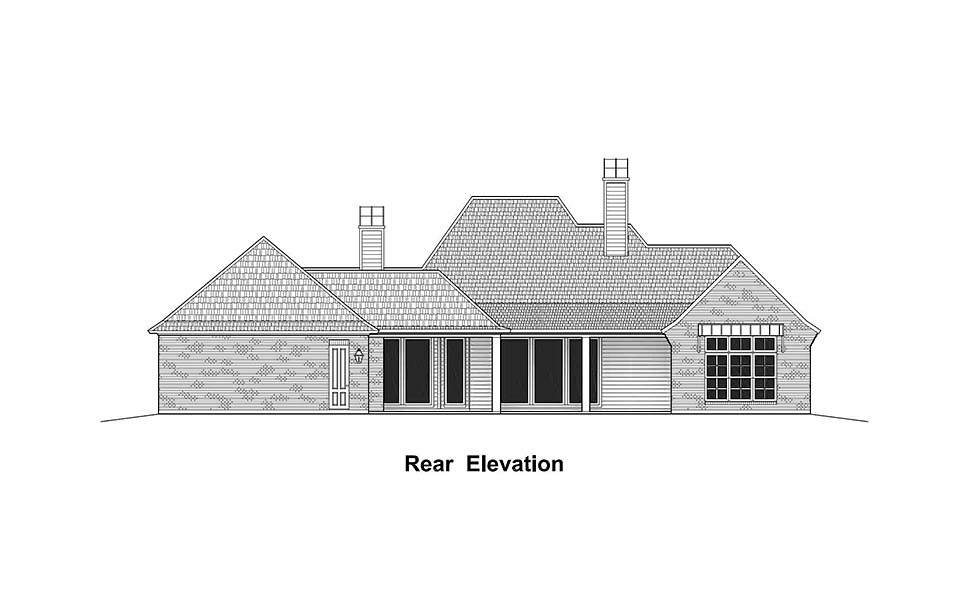 Country French Country Southern Rear Elevation of Plan 40331
