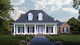 House Plan 40333 | Colonial Country French Country Southern Style Plan with 2963 Sq Ft, 4 Bedrooms, 3 Bathrooms, 3 Car Garage Elevation