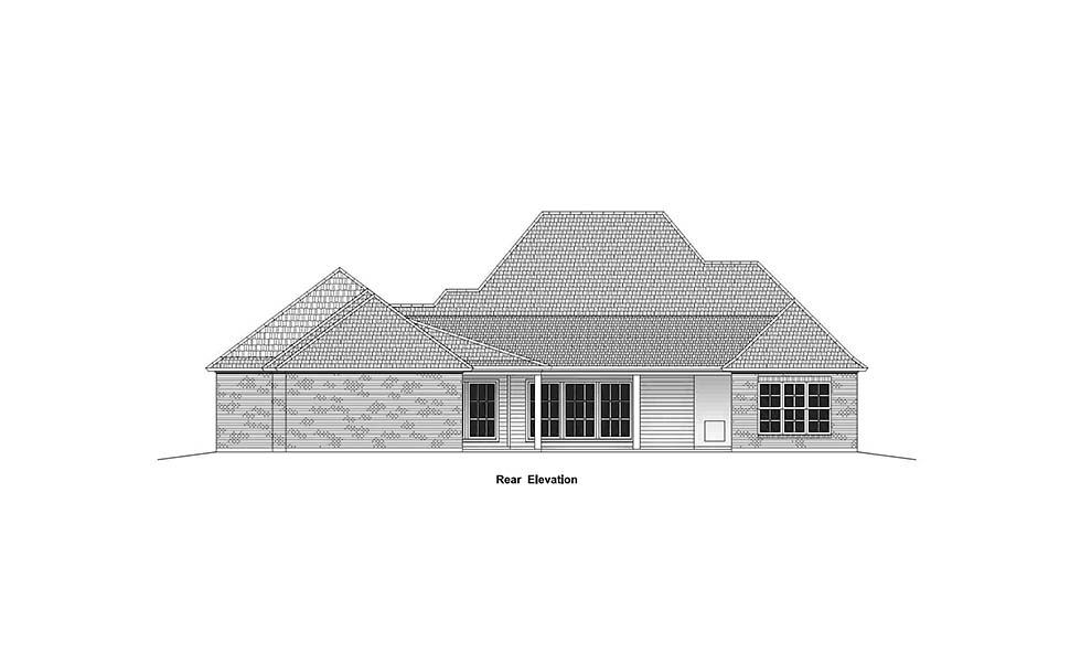House Plan 40333 | Colonial Country French Country Southern Style Plan with 2963 Sq Ft, 4 Bedrooms, 3 Bathrooms, 3 Car Garage Rear Elevation