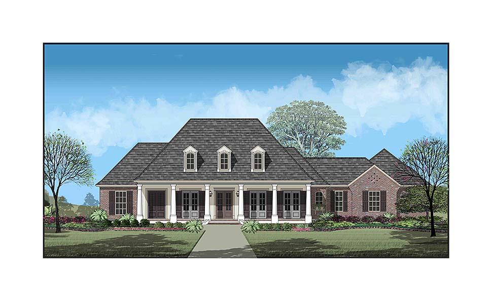 Colonial Country French Country Southern Elevation of Plan 40335